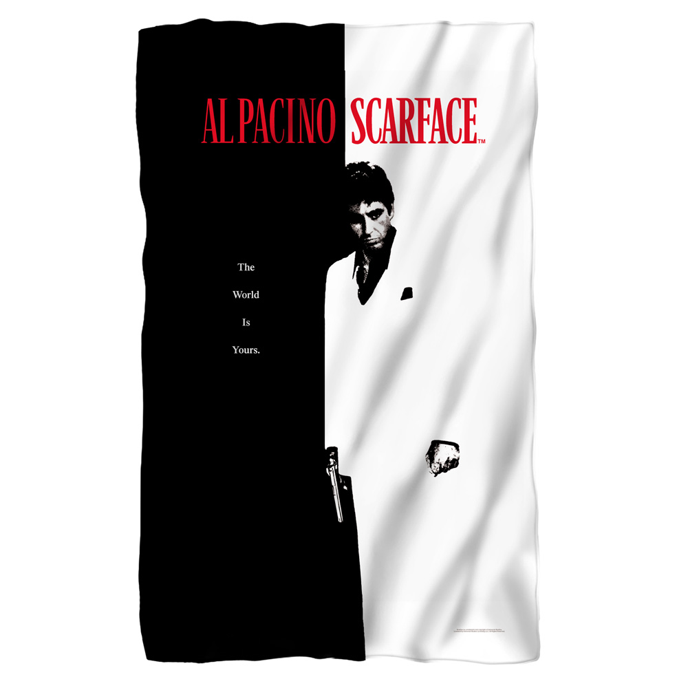 Scarface Poster Fleece Throw Blanket White One Size