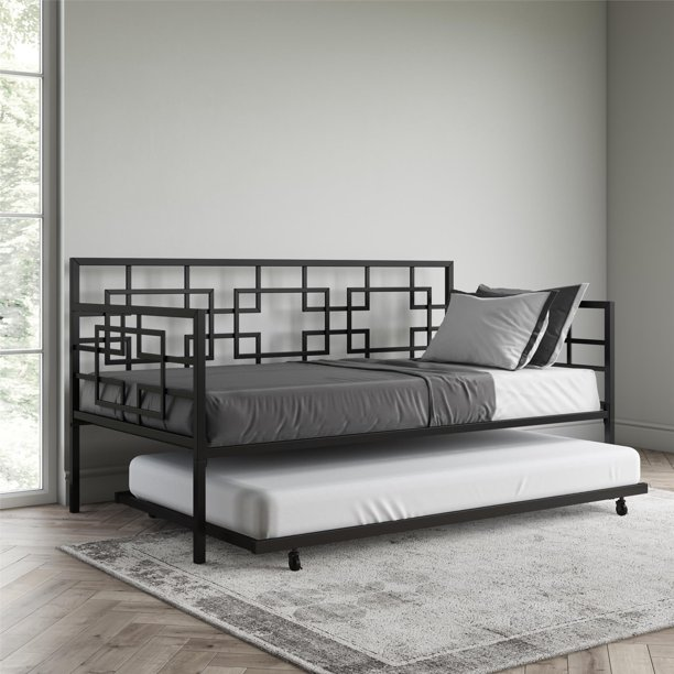Better Homes & Gardens Twin Daybed with Twin Trundle, Black Metal