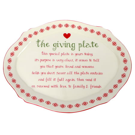 Red Heart Filled With Love Giving Plate Ceramic Platter 12 X 9 Inches Pass It On - Make It Plates