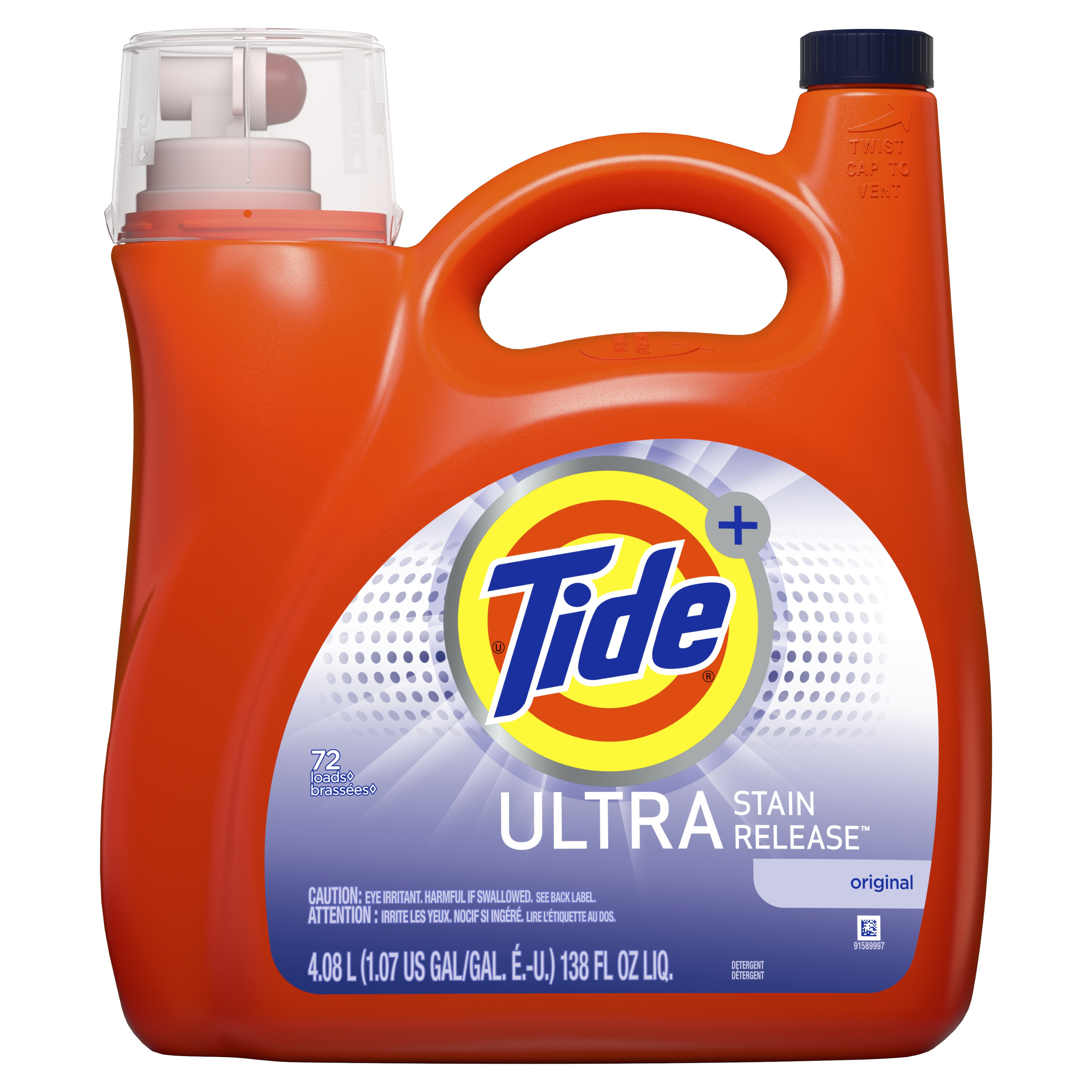 Tide Ultra Stain Release HE Turbo Clean Liquid Laundry Detergent, 138 oz, 72 loads