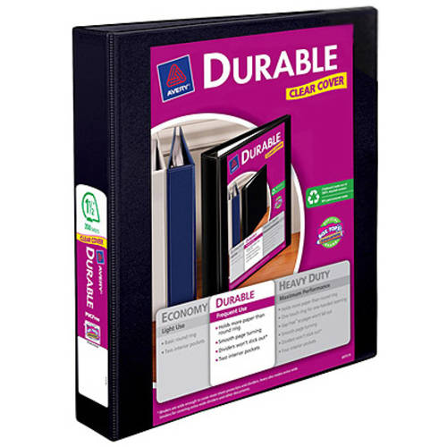 "Avery Durable Reference Vinyl EZ-Turn Ring View Binder, 1-1/2"" Capacity"