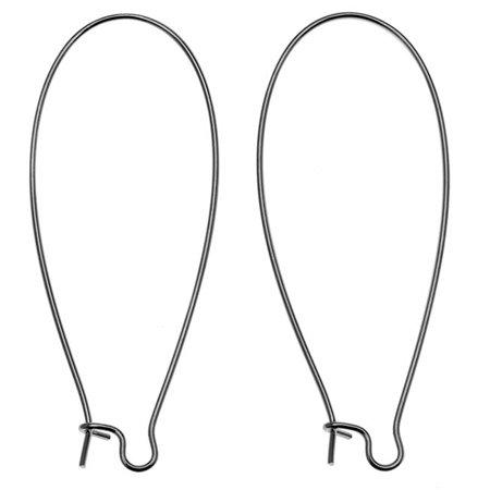 Gun Metal Plated Earring Hooks Kidney Wires 47mm (10 (Metal Earring Hooks)