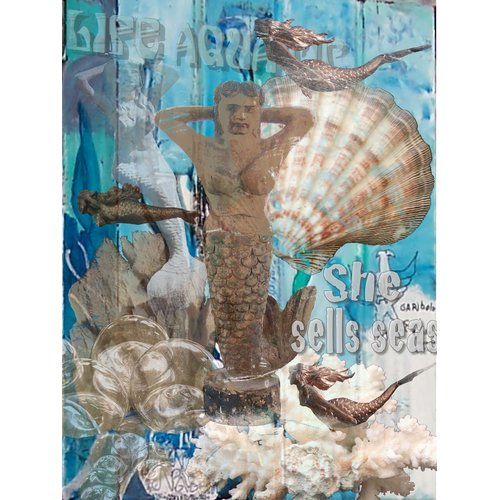 Graffitee Studios Mermaid She Sells Graphic Art on Wrapped Canvas