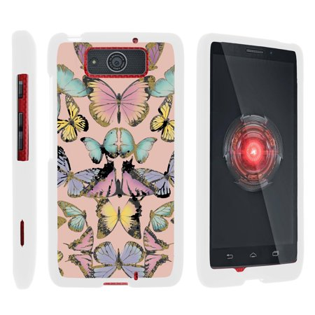 Motorola Droid Ultra XT1080 | Droid Maxx XT1080-M, [SNAP SHELL][White] Hard White Plastic Case with Non Slip Matte Coating with Custom Designs - Butterfly Symmetry (Droid Razr M Case Infinity)