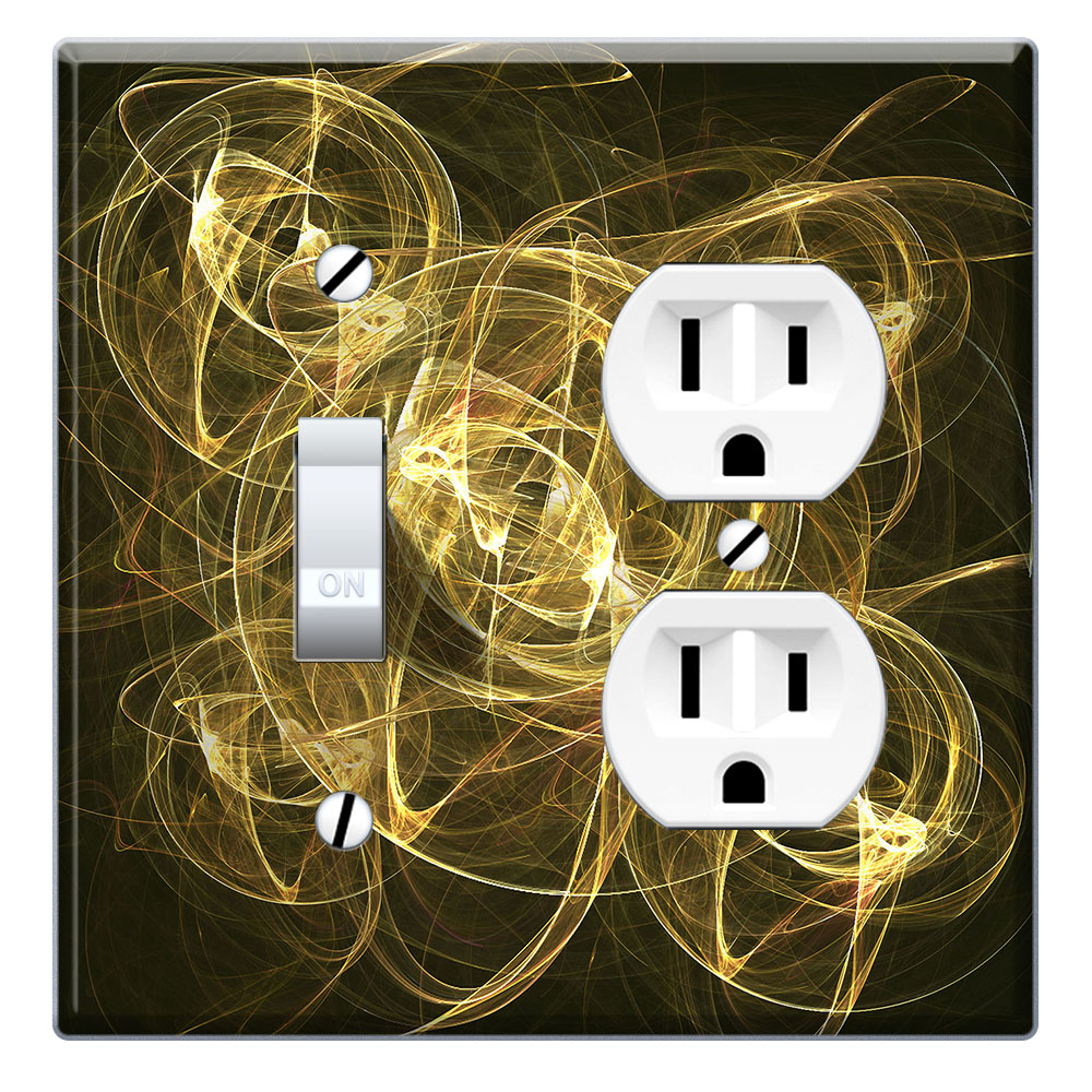 Wirester Double 1 Gang Toggle Light And 1 Gang Duplex Outlet Switch Plate Wall Plate Cover Golden Illusion Walmart Com Walmart Com