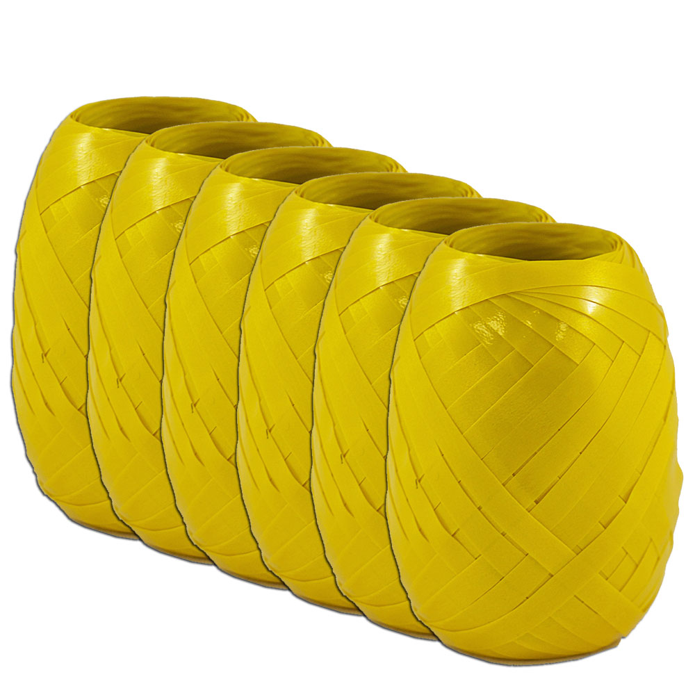 "JAM Paper Curling Ribbon, 3/8"" Wide x 66 Feet per Ribbon Egg, Yellow, Pack of 6"