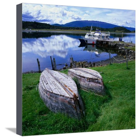 Upturned Rowing Boats Near Pier at Beagle Channel, Estancia Harberon, Argentina Stretched Canvas Print Wall Art By Wes