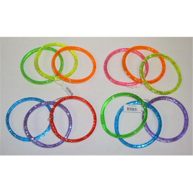 Nu-IMage International BA-324HS Cascading Glitter Neon Bracelets with Hearts & Stars, 12 Set by Nu-Image International