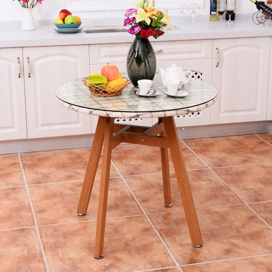 Costway Round Dining Table Steel Frame Tempered Glass Top