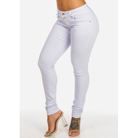 Worn Jeans Button Fly Jeans - Womens Juniors White High Waist Stretchy Twp Button Skinny Jeans 10536K