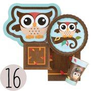 Owl - Party Tableware Plates, Cups, Napkins - Bundle for 16