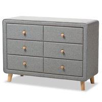 Baxton Studio Jonesy Mid-Century Linen Upholstered 6-Drawer Dresser, Multiple Colors