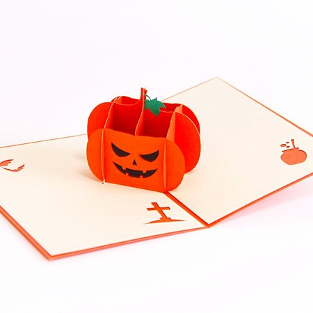DL furniture 3D Pop Up Greeting Card for All Occasions - Travellers, Romantics, Arbor Lovers - Folds Flat for Mailing - Birthday, Graduation, Get Well, Anniversary, Engagement Gift | Pumpkin x4](Birthday Pumpkin)