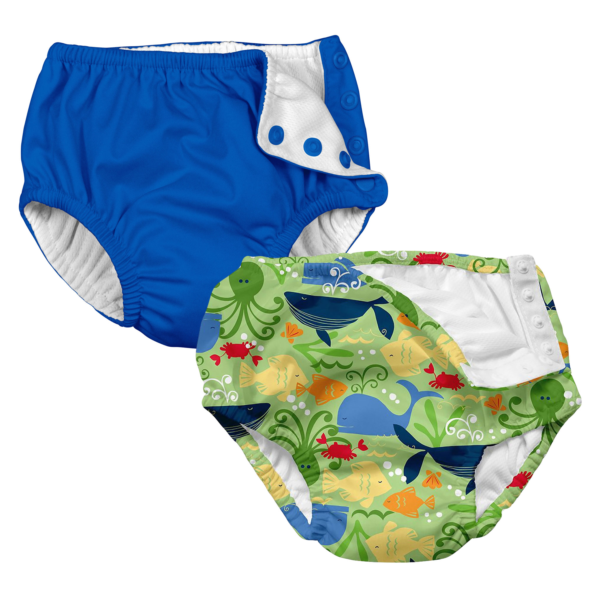 i play Baby and Toddler Snap Reusable Swim Diaper - Royal Blue and Sealife- 2 Pack