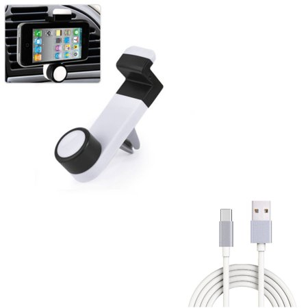Car Mount w 6ft USB Cable, Air Vent Holder Rotating, Type-C Charger Cord Power V8N for ZTE Blade X MAX, Imperial Max, Spark View, Duo LTE, Axon M, A7 Prime, Nubia 11, Avid 916, 9 Pro 7 Mini, 3 -  AWAccessory, E44B94E-AW