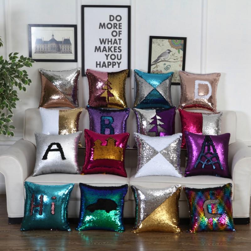 40*40cm Glitter Sequins Pillow Cover Case Waist Throw Sofa Cushion Case Home Car