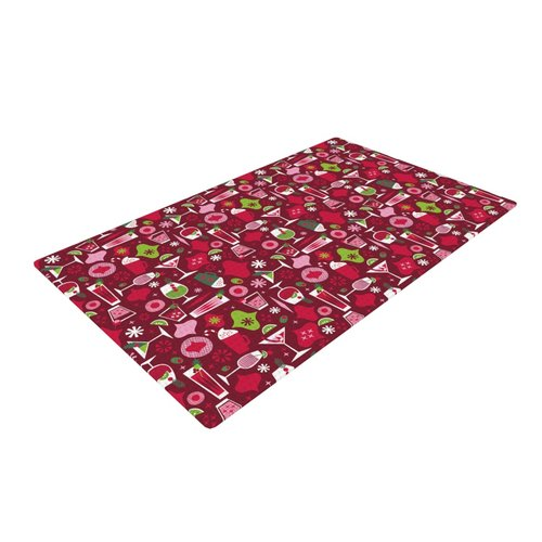 East Urban Home Allison Beilke Holiday Spirits Holiday Pink/Red Area Rug