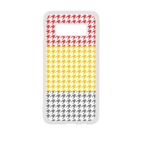 Red Mustard Grey Houndstooth Dogstooth Print Design White Rubber Case Cover for the Standard Samsung Galaxy s10 - Samsung Galaxy s10 Accessories - Samsung Galaxy s10 Case