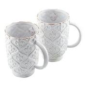 French White Fleur de Lis Latte Coffee Tea Cup 20 oz Terracotta Set of 2