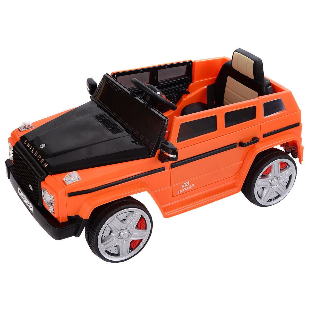"GHP Kids Orange 43""Lx26""Wx21""H Battery Powered Ride On Car w LED Lights & MP3 Aux"