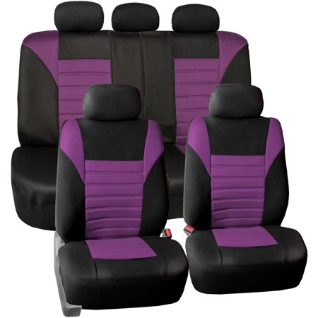Purple Car Seat Cover - FH Group Universal Fit Premium Airbag Compatible 3D Air Mesh Full Set Seat Covers, Purple