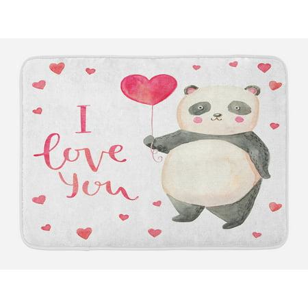 I Love You Bath Mat, Cute Panda Bear Holding A Balloon Hearts Playroom Baby Watercolor Art, Non-Slip Plush Mat Bathroom Kitchen Laundry Room Decor, 29.5 X 17.5 Inches, Dark Coral
