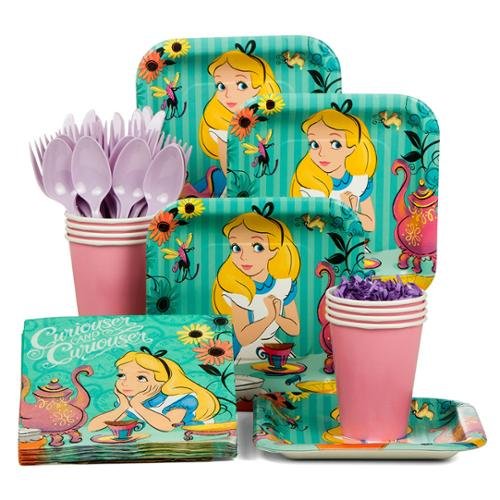 Alice in Wonderland Standard Birthday Party Tableware Kit (Serves 8) - Party Supplies