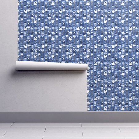 Removable Water-Activated Wallpaper Cats In Bowls Blue Floral Kitty Cat](Kitty Halloween Wallpaper)