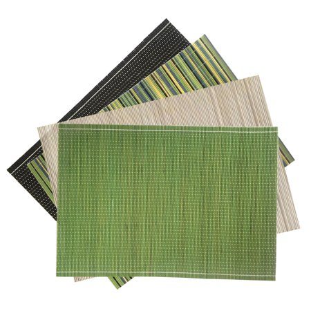 CUH Bamboo Placemats Table Kitchen Dinning Serving Place-mats Roll up Wood Mat Sushi Oriental (Oriental Sushi)
