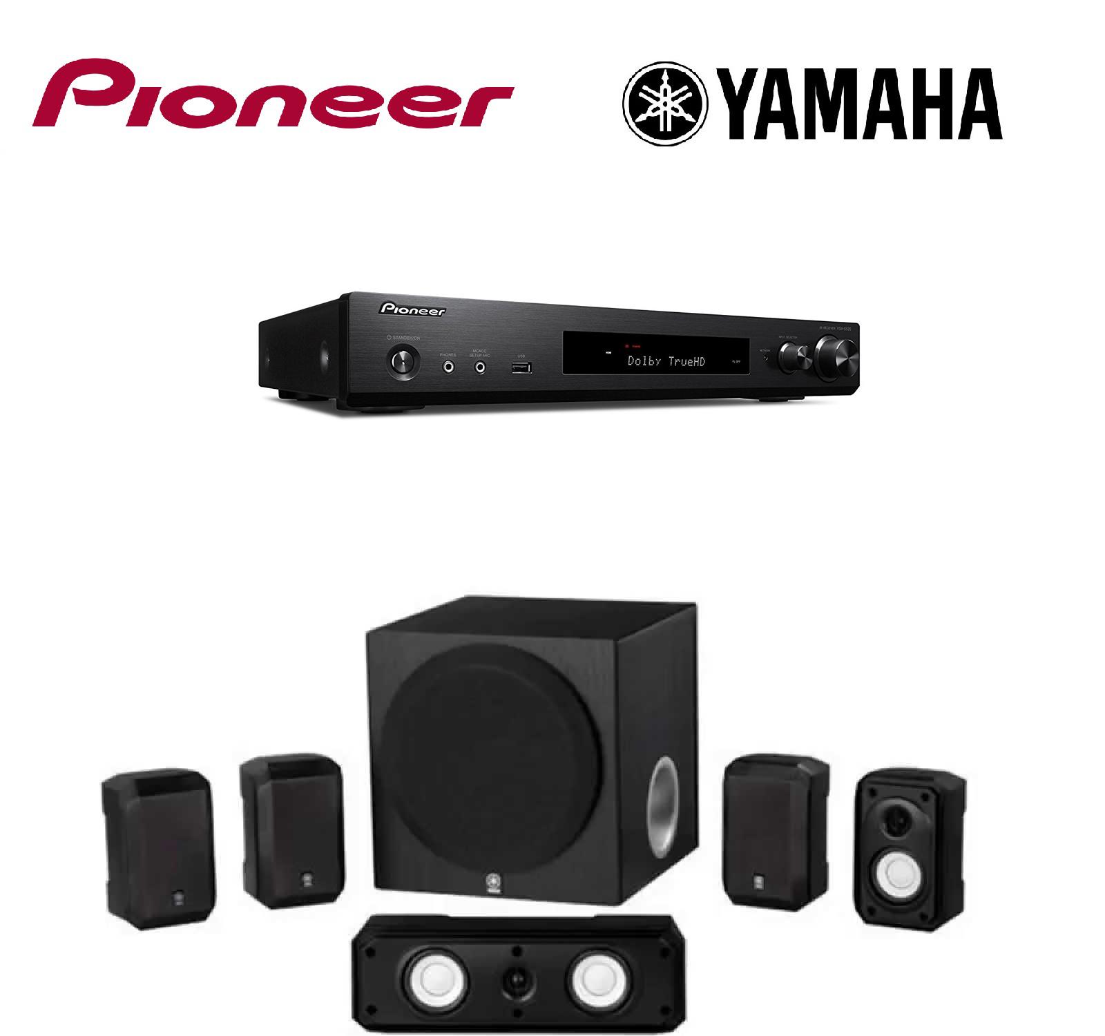 Pioneer Slim Audio ; Video Component Receiver,Black (VSX-S520) + Yamaha NS-SP1800BL 5.1-Channel Home Theater Speaker Set Bundle