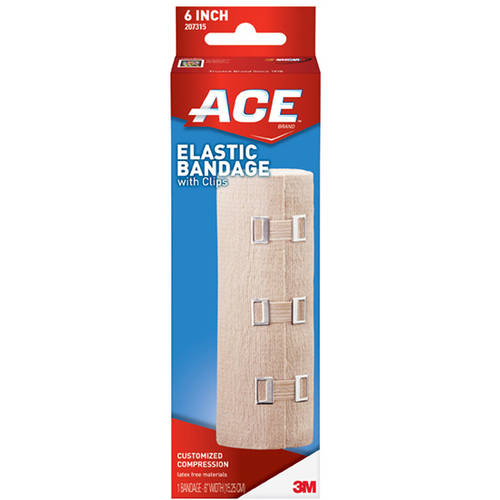 ACE Elastic Bandage w/clips, 6 in, 207315