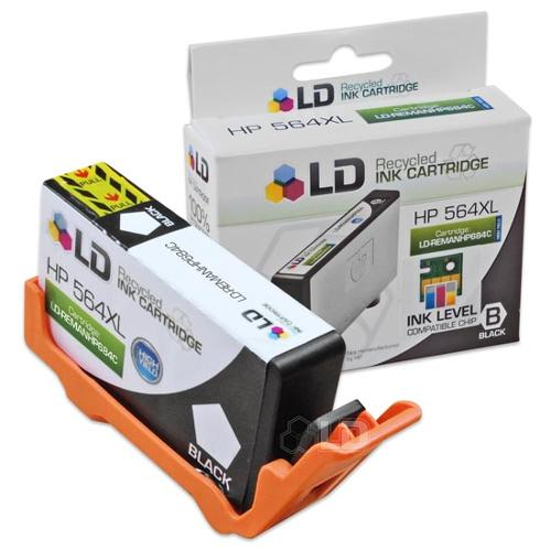 LD Remanufactured Replacement Ink Cartridge for Hewlett Packard CN684WN HP 564XL / 564 High-Yield Black - Shows Accurate Ink Levels