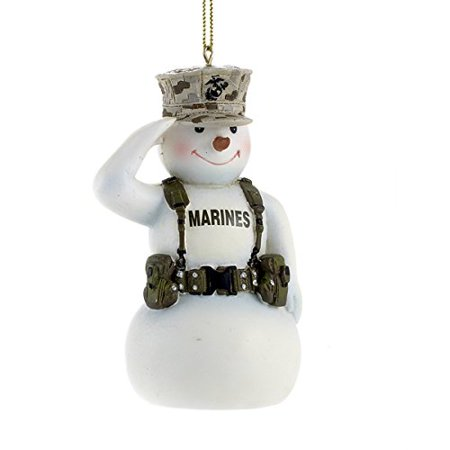 United States Marine Corps Saluting Snowman USMC Christmas Ornament MC2132 New, About 7 tall By Kurt