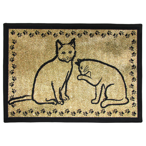 Park B Smith Ltd PB Paws & Co. Gold & Black Kitty Pals Tapestry Indoor/Outdoor Area Rug