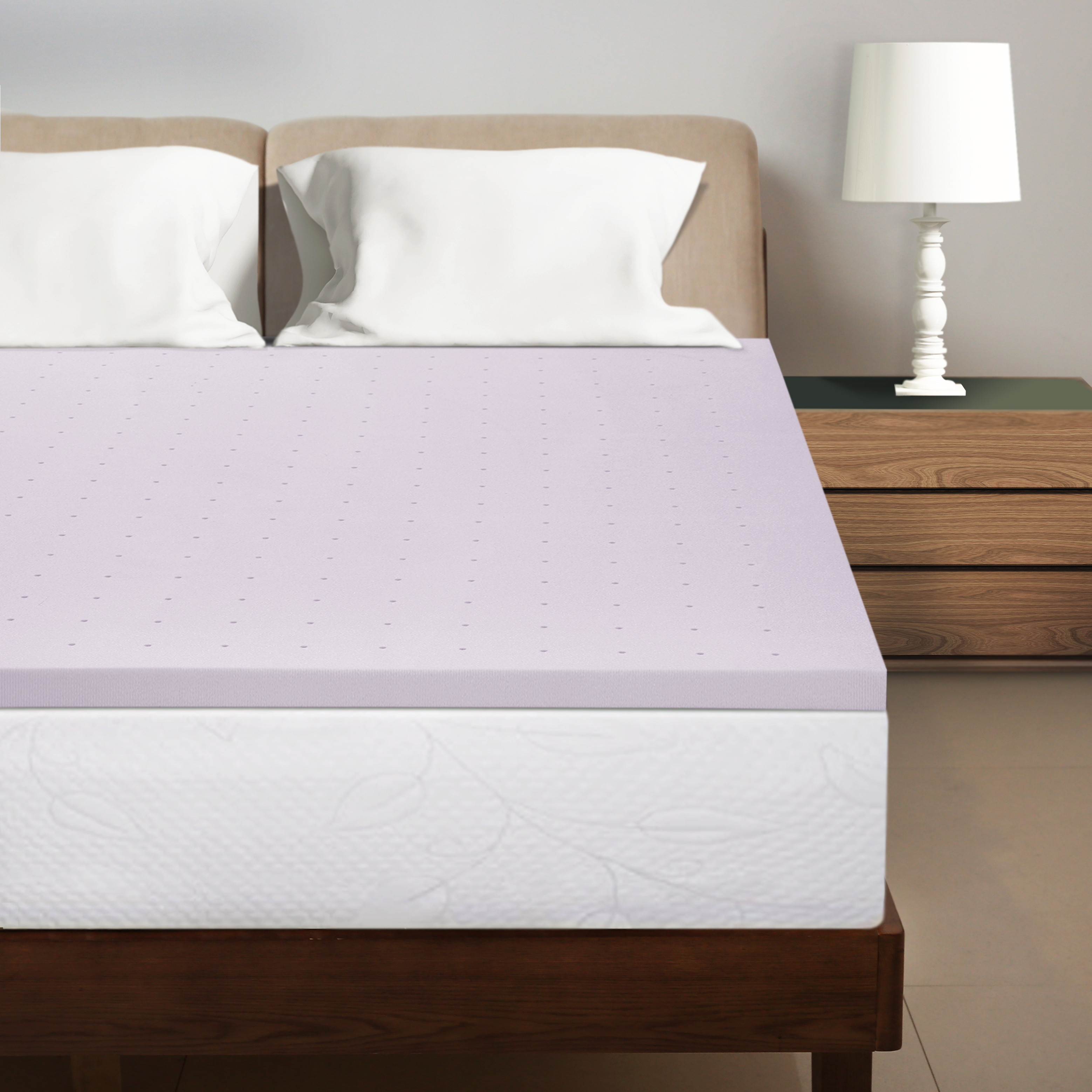 Best Price Mattress 1.5 Inch Lavender Infused Memory Foam Bed Topper Cooling Mattress Pad