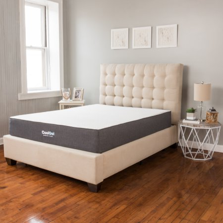 "Cool Gel 10.5"" Ventilated Gel Memory Foam Mattress, Multiple Sizes with Mainstays HUGE Pillow in 20""x28"" in Blue and White Stripe Bundle"