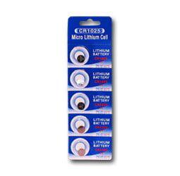 CR1025 Lithium Button Cell batteries, 5-Pcs Card