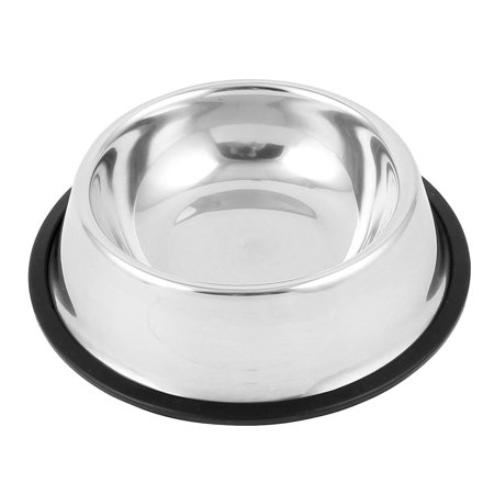 Catit Food Dish - Unique Bargains Iron Food Water Drinking Feeder Bowl Dish for Pet Cat Doggie Silver Tone