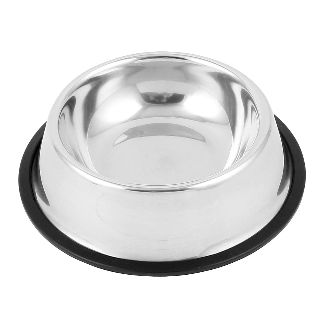 Unique Bargains Iron Food Water Drinking Feeder Bowl Dish for Pet Cat Doggie Silver Tone