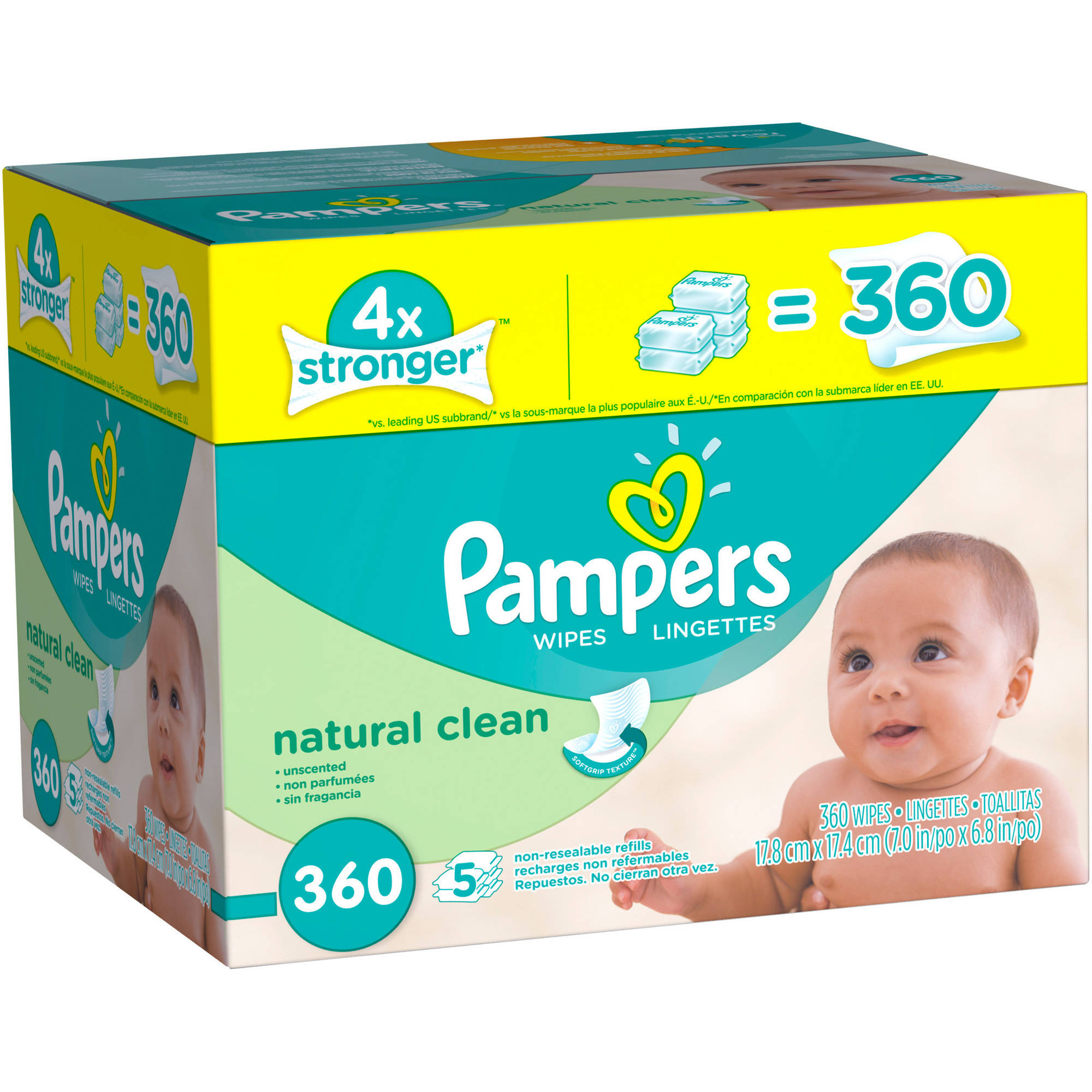 Pampers Natural Clean Baby Wipes Refills, 360 sheets