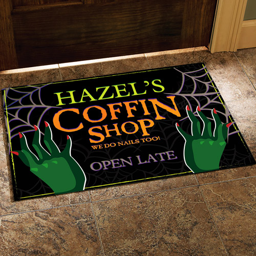"""Personalized Halloween Coffin Shop Doormat, 17"""" x 27"""""""