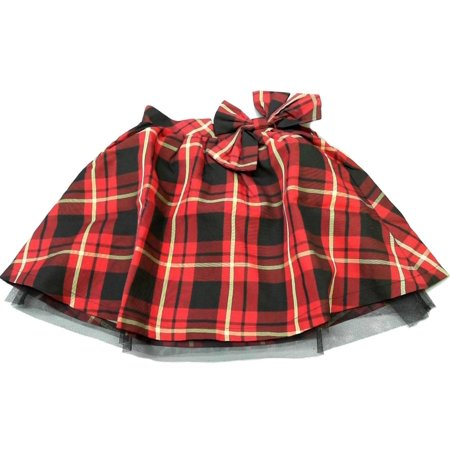 Designer Red Plaid Tartan Tulle Skirt Girls size 7-8 A-line Kids Childrens Fashion Sale 2225 (Childrens Size 28)