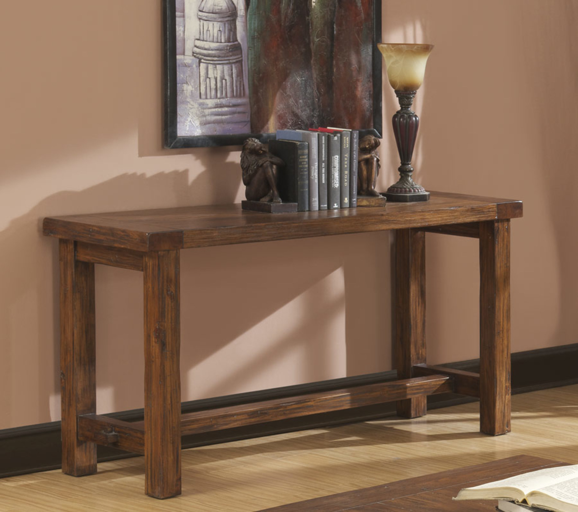 Emerald Home Chambers Creek Brown Sofa Table with Plank Style Top And Straight Timber Legs by Emerald Home Furnishings, LLC