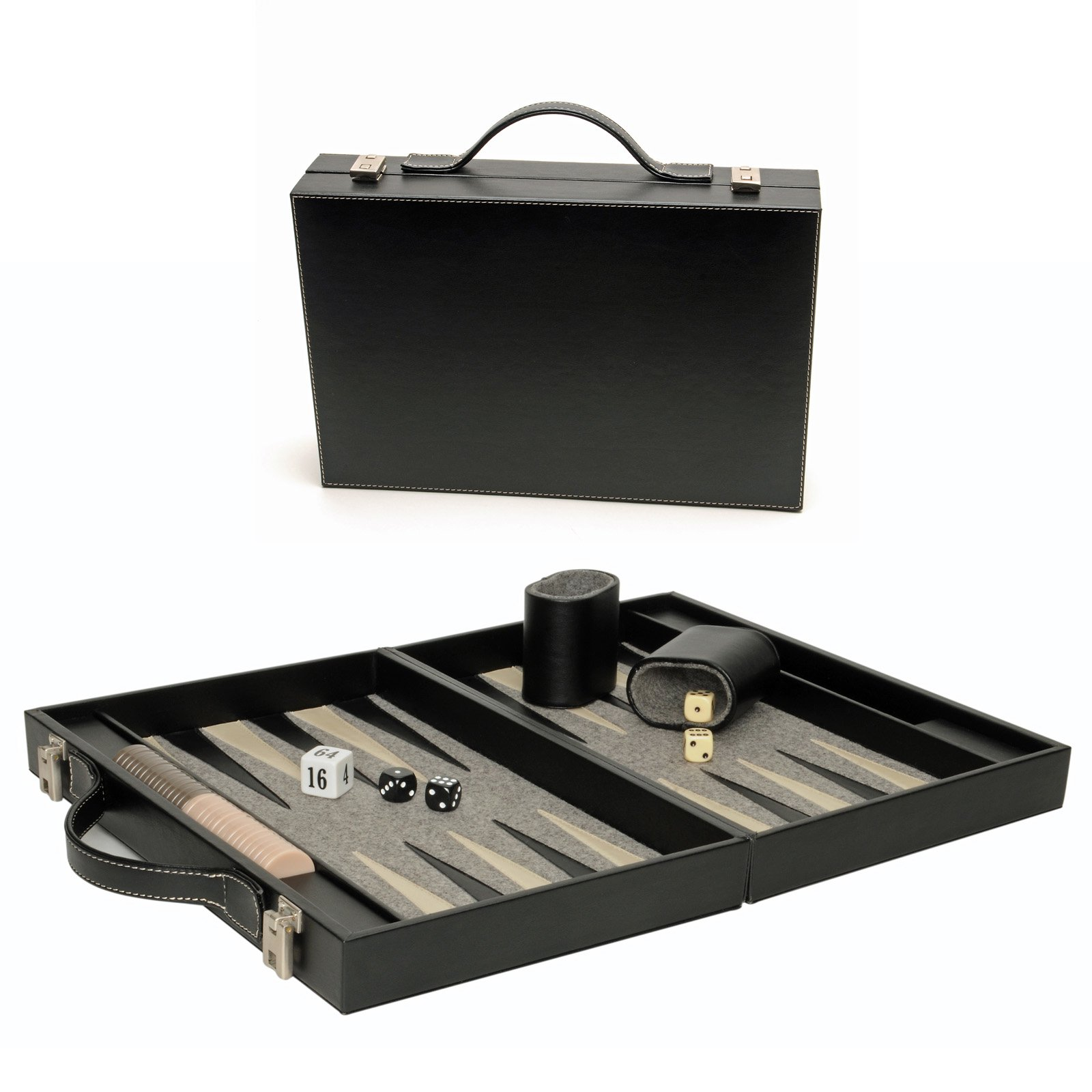 WE Games Luxury Black Backgammon Briefcase by Wood Expressions
