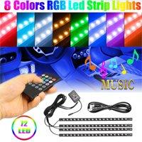 Car Interior Lights 72/48/36 LED Car Floor Atmosphere Glow Neon lights Multi-Color Car LED Strip Lights 12V 5050-SMD Tape Lights Decorative Underdash Lighting Kit w/ Wireless Remote Control