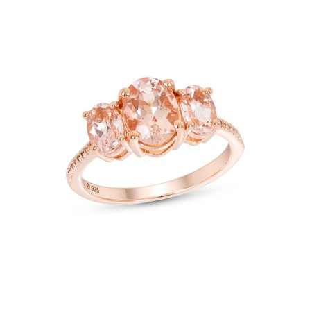 14K Rose Gold Plated Sterling Silver 3 Stone Treated Morganite & White Topaz Gemstone Ring