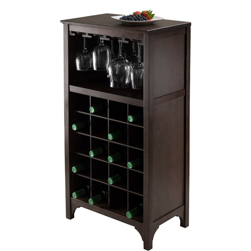 Ancona Modular Wine Cabinet, Glass Rack, 20-Bottle, Dark Espresso
