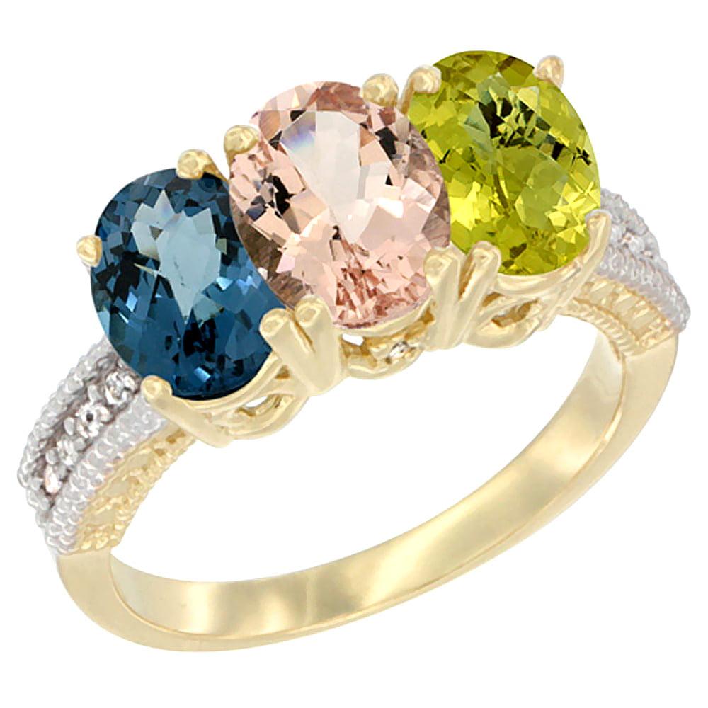 10K Yellow Gold Diamond Natural London Blue Topaz, Morganite & Lemon Quartz Ring 3-Stone Oval 7x5 mm, sizes 5 10 by WorldJewels