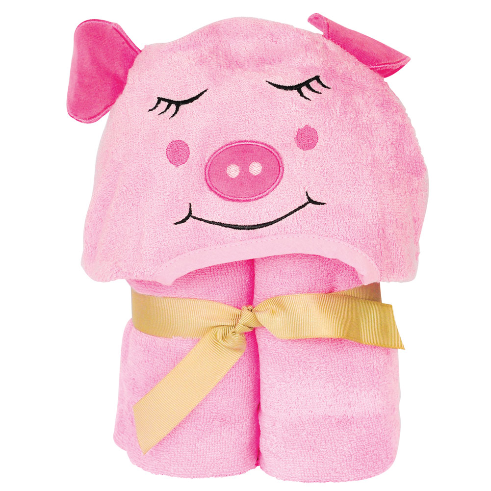 Children's Kid Piggy Pink Hooded Bamboo Turkish Towel