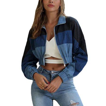 Women Denim Crop Tops Coat Long Sleeve Zip Jacket Biker Color Block Jean Outwear 3/4 Sleeve Crop Jacket